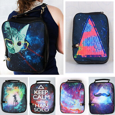 2019 Unisex Vintage Backpack Galaxy Graphic Print Bag Removable Straps Leather
