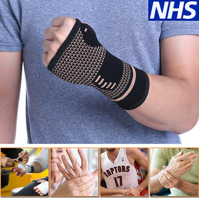 88ae6d5e42 Copper Infused Wrist Sleeve Hand Support Compression Brace Glove Arthritis  Wrap