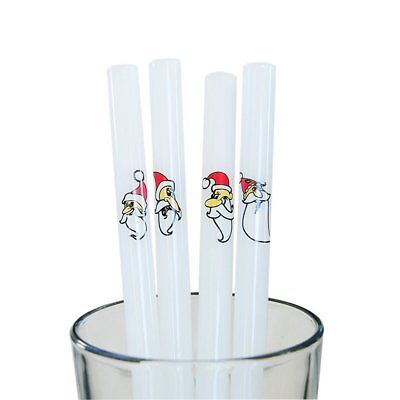 """TIANYUAN 9"""" x 12 mm Straight Glass Straws with 1 Cleaning Brush, Set of 4, Santa"""