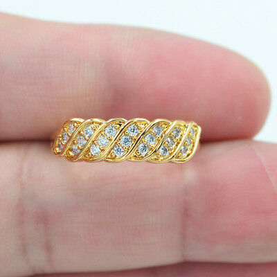 18K Yellow Gold Filled Micro-Pave Topaz Artistic Wave Engagement Ring Jewelry
