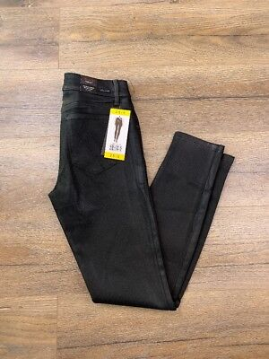 NWT Level 99 Womens Forever Black Collection Mid Rise Coated Skinny Jeans 28/6