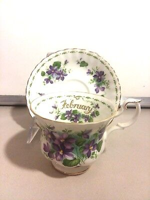 Royal Albert Bone China Violets February Flower of the Month Cup & Saucer