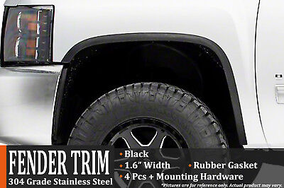2007-2013 GMC Sierra 1500 (Without Factory Flares) Black Fender Wheel Molding