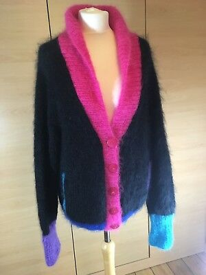 Vintage 80s Handknitted 78% Mohair Black Oversize Cardigan Large Made in England