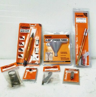 Lot of Lyman tools, NEW Auto Primer Feed, Priming Arm, Deburring Tool and MORE
