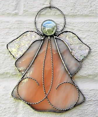 Hand crafted stained glass sun catcher. Filigree Angel.