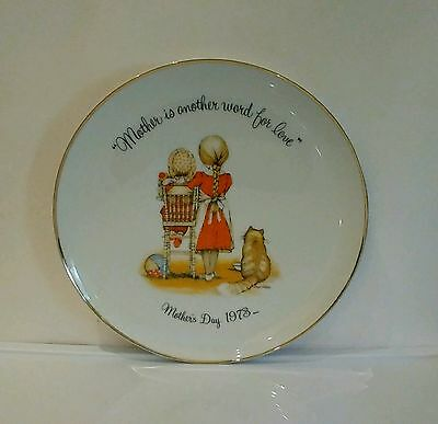 """Holly Hobbie 1973 Mothers Day Commemorative Plate Vintage Made In Japan 10.5"""""""