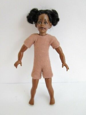 1:12 scale undressed dollhouse 4 inch girl doll with dark skin, dark hair
