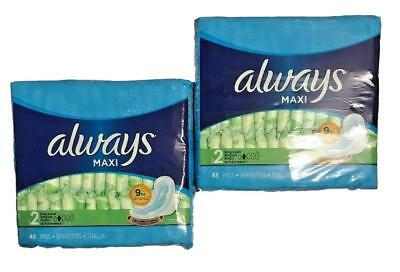 Always Large Long Super Maxi Pads with Flexi Wings Leak Guard 90 count