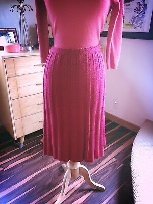 Vintage 1950s Skirt M L Berry Pink Sweater Knit A-line Pinup Rockabilly 50s