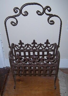 Antique cast wrought iron Fireplace  log carrier holder storage gothic fancy