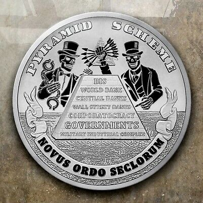 """2018 1Oz Pyramid Scheme Proof .999 Silver Shield - """"in-Hand - 760 Minted"""""""