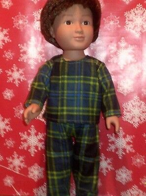 "18"" doll clothes-fit American Girl Boy  My Life-Pajamas-Flannel-Blue Green Plaid"