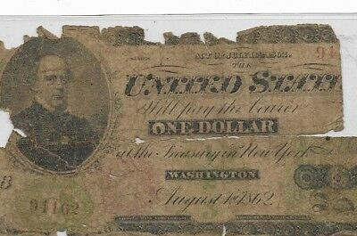 "$1 ""1862"" (Samuel Chase)  $1""1899"" (Red Seal)1800's Rare $1  1862 (Samuel Chase)"