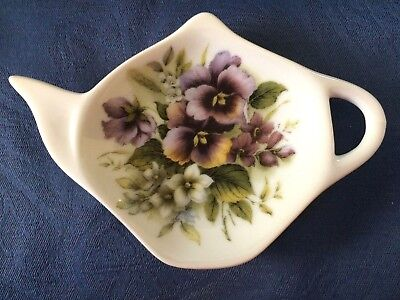Pansies Purple New Handmade Ceramic-Porcelain Tea Bag Spoon Rest Gift