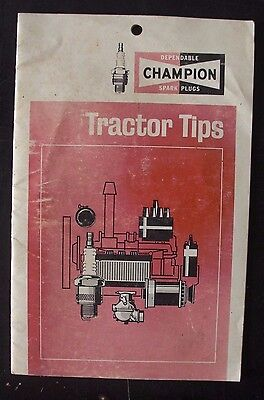 """Vintage Champion Spark Plug """"Tractor Tips"""" Booklet - Farm and Machinery Ad"""