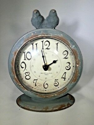 "Sullivans 6"" x 4.75"" Antique French Style Perching Birds Table Clock"
