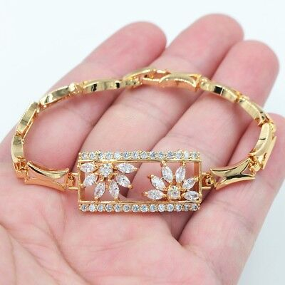 18K Yellow Gold Filled Women Clear Crystal Topaz Gems Square Bracelet Jewelry