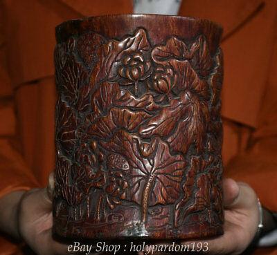 """6"""" Old Chinese Palace Wood Hand-Carved lotus leaf Flower Brush Pot Pencil Vase"""
