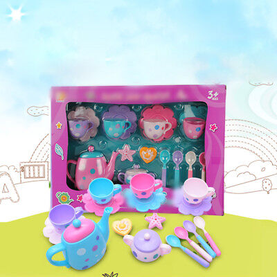 Kids Pretend Wooden Afternoon Tea Set Toy Wood Kitchen Role Play Toys Gift New