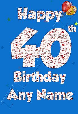 Personalised 40th Birthday Card Son, Husband, Brother, Male Age 40