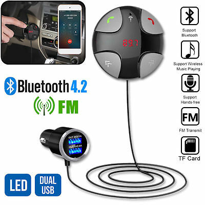 Wireless Bluetooth 4.2 Car FM Transmitter MP3 Player Hands-Free USB Charger Kit