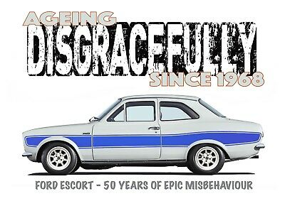 """Classic Ford Escort Mk1 /""""Rusty Nuts Garage Services/"""" t-shirt"""