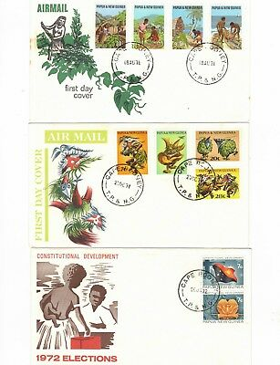 PAPUA NEW GUINEA 1971/72 Group of FDCs,cds CAPE RODNEY              ( 3 Covers)