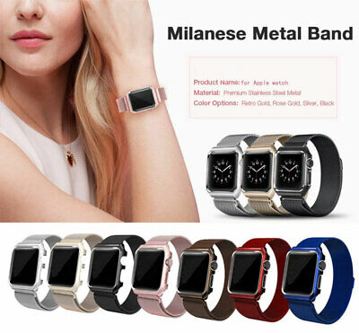 For Apple Watch Series 3/2/1 Milanese Stainless Steel Band Strap & Case Bumper