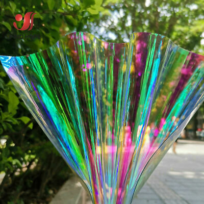 Shiny PVC Hologram Mirrored Faux Vinyl Fabric Rainbow Film Bow Decor Craft