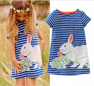 US Easter Toddler Kids Baby Girl Cartoon Bunny Dress Stripe Party Dress Sundress