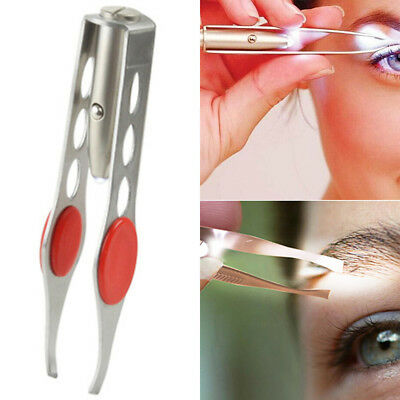 Stainless Steel Makeup Eyelash Eyebrow Hair Removal Tweezer With LED Tool Supply