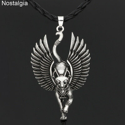 Egypt Cat With Angel Wings Bastet Necklace WICCA Pagan Talisman Egyptian Jewelry