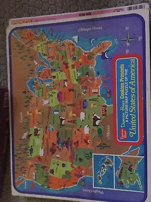 Duncan Hines Picture Map Puzzle USA Vintage United States Homeschool Learning