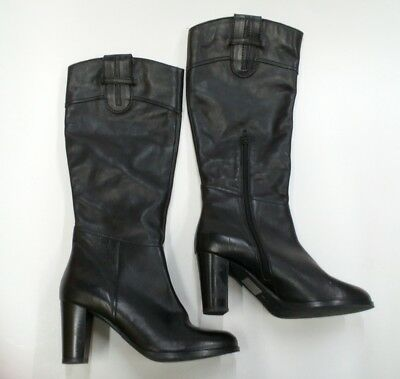 59fd2ce1352 Diba True Connect Tion Black High Heal Leather Knee High Boots 9 M