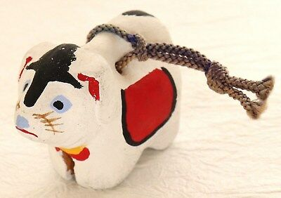 Japanese Vintage Clay Bell Dorei Dog Lucky Charm Handcraft
