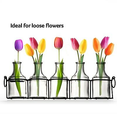 e0f959a8d85 SMALL BUD GLASS Vases in Black Metal Rack Stand