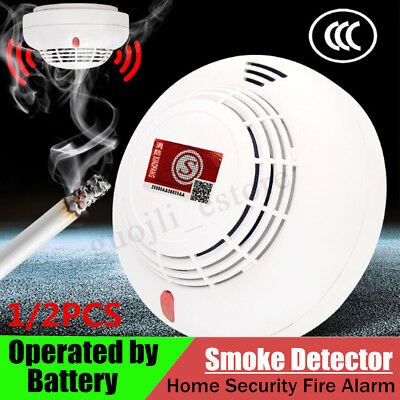 2X Smoke Detector Home Security Fire Alarm Photoelectric Sensor Battery Operated