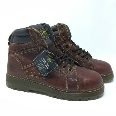 Dr Martens Industrial Steel Toe Boots US 12 M Brown Safety Shoe Work Mens NEW