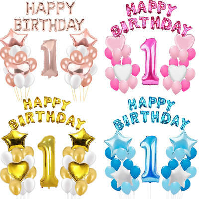 Happy First 1st Birthday Number 1 Boy Girl Balloons Baby Shower Party Foil Latex