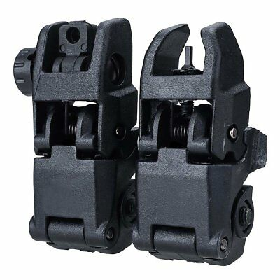 2Pcs Tactical Flip Up Front Rear Folding Backup Sights for 20mm Rails Iron Tool