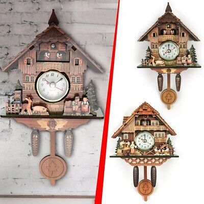 Antique Cuckoo Wall Clock Bird Time Bell Wooden Swing Alarm Watch Decor UK FAST!