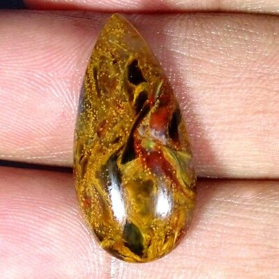 12.10Cts Natural Golden Pietersite Pear Cabochon Loose Gemstone