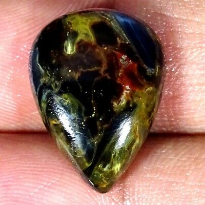 11.30Cts Natural Golden Pietersite Pear Cabochon Loose Gemstone