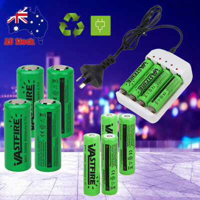 4x 18650 26650 8000mAh Rechargeable 3.7v Li-ion Battery Lithium AU Smart Charger