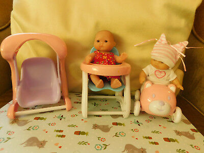 Berenguer baby dolls x 2, miniature 13 cm, with swing, teddy car, high chair