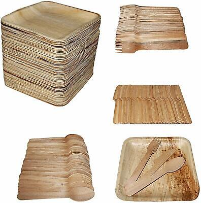 200 Piece - 24cm x 24cm Square Plates (50) with Wooden Cutlery - 50 Forks, 50 Sp