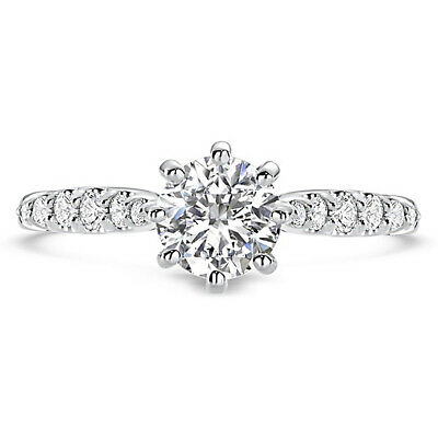 Round Cut 3.25 CT Diamond Solid 14K White Gold Engagement Wedding Solitaire Ring