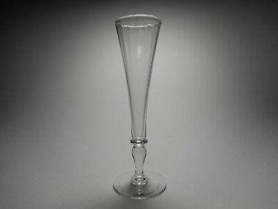 19th C. Blown Mold Right-Twist Clear Glass Champagne Flute