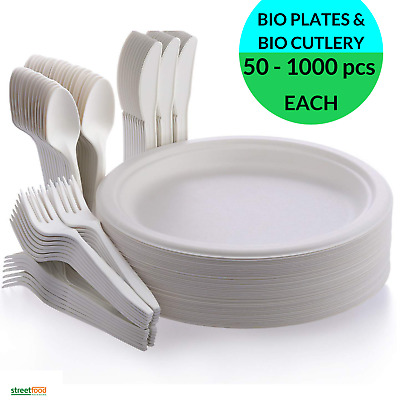 Disposable Round Baggase Plates with Bio Plastic Cutlery Forks Spoons Knives